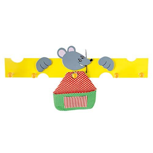 Bieco Holz Kindergarderobe Maus mit Käse | 5 Garderobenhaken | Kinder Kleiderhaken | Holzgarderobe für Kinderzimmer | Garderobenleiste Holz bunt | wardrobe | Jackenhalter | Wandgarderobe