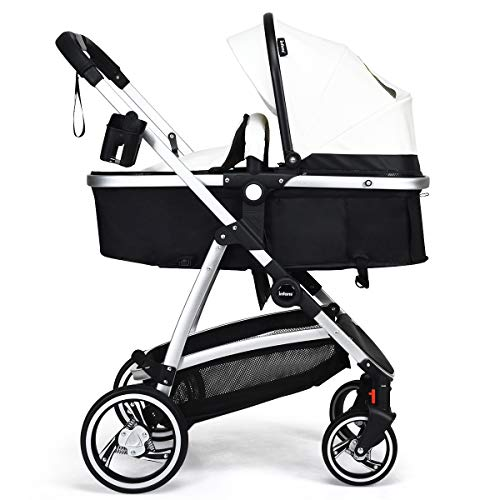 INFANS Newborn Baby Stroller Carriage, 2 in 1 High Landscape Convertible Reversible Bassinet Pram, Foldable Aluminum Alloy Pushchair with Adjustable Canopy, 3D Shock Absorption PU Wheels (White)