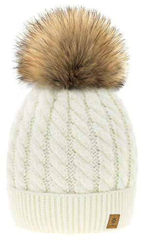 4sold Winter Cappello Set da Donna Taglia Unica di Lana di Mohair e Sciarpa Invernale di Lana Berretto Beanie Fodera in Pile Pompom Artificiale - Carla Ecru