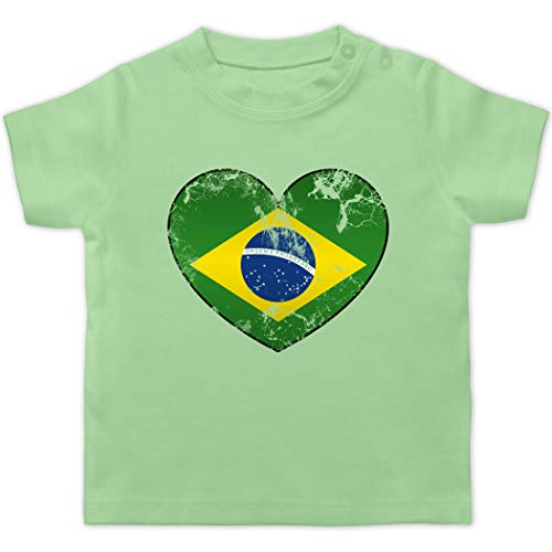 Fußball-Europameisterschaft 2020 - Baby - Brasilien Vintage Herz - 1/3 Monate - Mintgrün - Geschenk - BZ02 - Baby T-Shirt Kurzarm