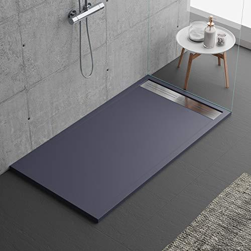 Plato de ducha de color antracita, diseño moderno, modelo Malaga, de mineralmármol con efecto piedra pizarra, luxury, gelcoat, slim 3 cm 80 x 120