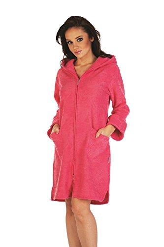 FOREX Lingerie flauschiger Bademantel Mantel mit praktischem Reißverschluss und kuscheliger Kapuze, himbeer, Gr. M