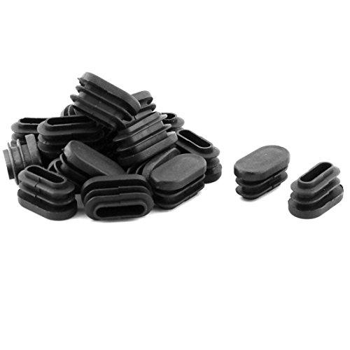 Sourcingmap 20pcs Bouchon Pied de Chasie Table Meuble Embout Bouchou Tuyau Insert Tube Capuchon Ovale Plastique Noir