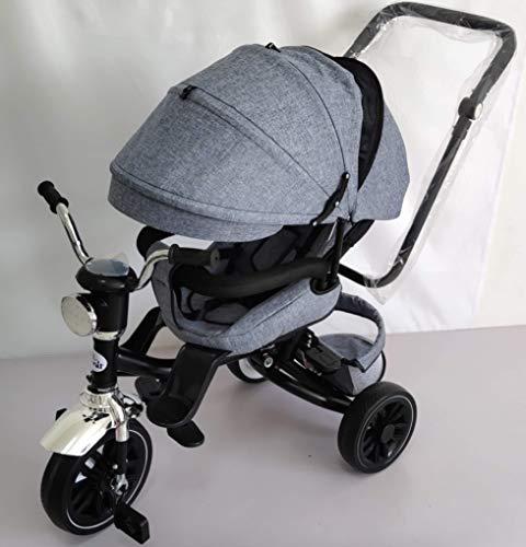 Driewieler voor baby's, toral, grijs, 2-in-1, met zonnedak en afneembare stang, 18 m