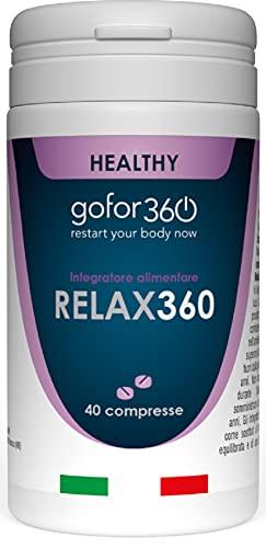 RELAX360 | Integratore per il Sonno e il Rilassamento | Melatonina, Valeriana, Passiflora, Escolzia, Biancospino | gofor360