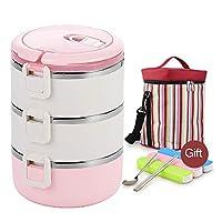 650MLランチボックス透明カバー、絶縁バッグ、スプーン、箸付き、学生に最適大人用オフィスステンレス製食品容器,ピンク,3Layers