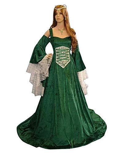 LY-VV Womens Plus Size Victorian Renaissance Medieval Costume Off Shoulder Floor Length Lolita Dress Green
