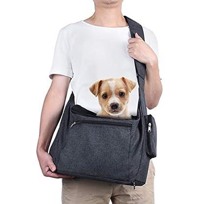 Petacc Dog Carrier Sling Bag Hand Free Pet Puppy Cat Travel Shoulder Carry Bag with Adjustable Strap and Safety Hook for Outdoor Walking Subway (Black) 1