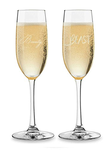 Set of 2 Personalized Wedding Champagne Flutes- Beauty and Beast Design - Engraved Flutes for Bride and Groom Gift for Customized Wedding Gift