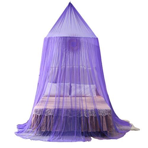 SYUS Moskitonetz für Doppelbett,Portable Universal Mesh Net Bettzelt Round Hoop Hanging Betthimmel für Doppel und Einzel Moskitonetz Bett Einfache Installation