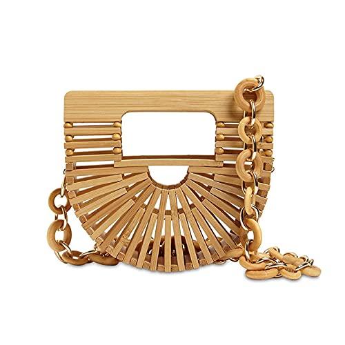 Cadena de verano cesta de bambú mini bolsa de lápiz labial bolsa de mensajero bolsa de cintura 13X15X5CM