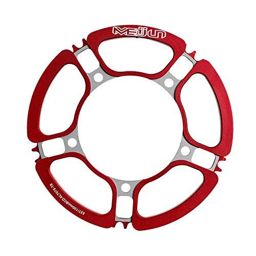 Sharplace Corona per Bici da Corsa MTB Corona Singola Rotonda Stretta Larga BCD 130mm 53T - Rosso