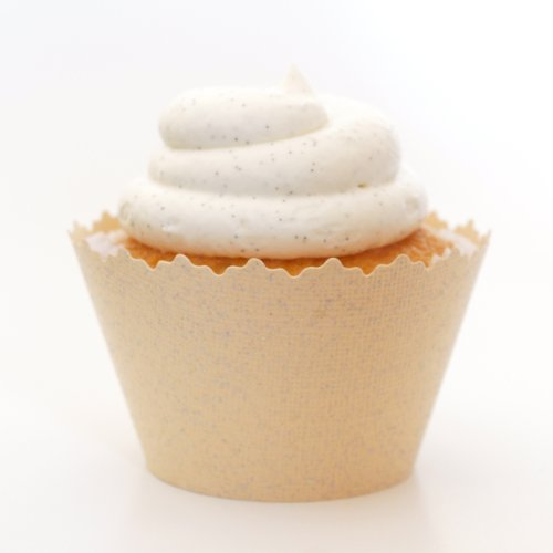 Glitter Colored Cupcake Wrappers - Set of 12 (Glitter Creamy Ivory)