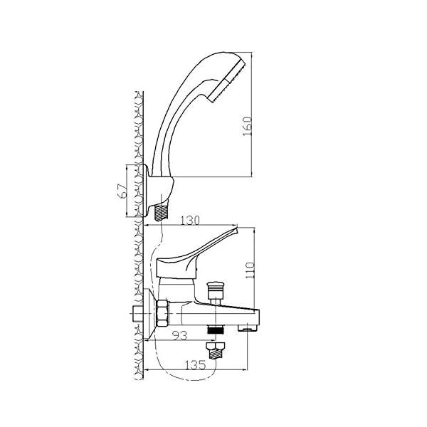 Ambrosiana SEI14020000 Grifo mezclador bañera exterior, cromado