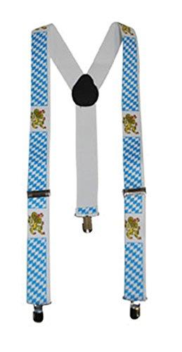 Faschingsfete Party bayrische Hosenträger im Oktoberfest Raute & Wappen, Mehrfarbig