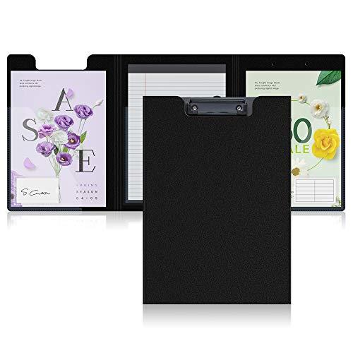 Portapapeles de triple pliegue A4, Carpeta multifuncional con tapa Carpeta de conferencia Almacenamiento de archivos a prueba de agua Portapapeles de plástico para oficina(Un solo paquete)