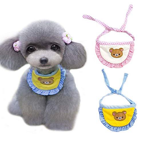 N-brand 2 bandanas para perros y gatos, diseño de oso de dibujos animados, ideal para fiestas, estilo campestre, para gatos, saliva, pañuelo de algodón, lavable, accesorio para gatos y perros