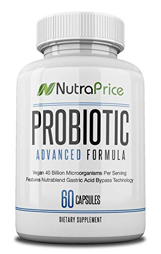 NutraPrice Pure Probiotic Daily Supplement Capsules Complete with Natural Prebiotics for Men & Women, Advanced 40 Billion CFU Formula Supports Weight Loss, Digestive Gut Health, Made in USA, 60 Caps
