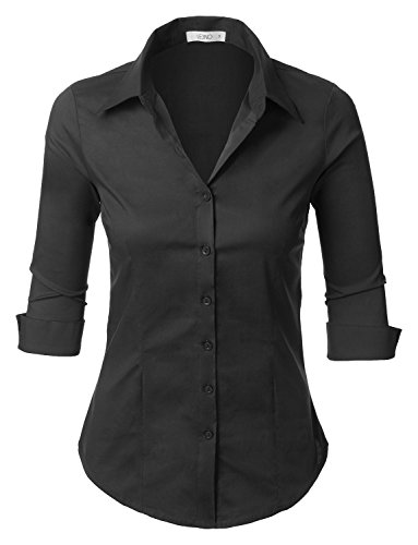 LE3NO Womens Roll Up 3/4 Sleeve Button Down Shirt with Stretch, L3NWT574_BLACK, Large