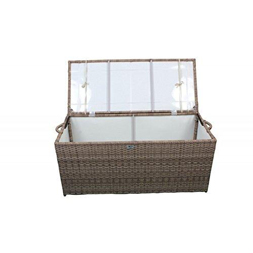 AVANTI TRENDSTORE - Raba - Cassapanca in ecorattan marrone per l'interno e l'esterno, con cuscino di seduta beige incluso, dimensioni: LAP 120x50x50 cm