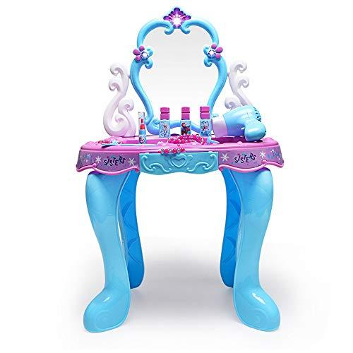 HUDEMR Coiffeuses de Chambre à Coucher Cosmétiques Princesse Maquillage for Enfants Box Play House Toy Little Girl Frozen Coiffeuse Meubles pour Enfants (Color : Blue, Size : 42x26.5x66cm)