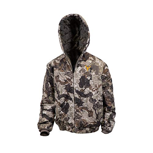 HOT SHOT Youth Insulated Twill Camo Hunting Jacket, Veil-Cervidae Camo with Cotton Shell, for cold weather, bird and deer hunting, Medium