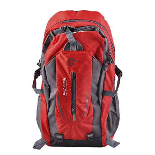 Mountaineering 40L Water Nylon Shoulder Bag Unisex Travel Hiking Backpack(Red 40L)
