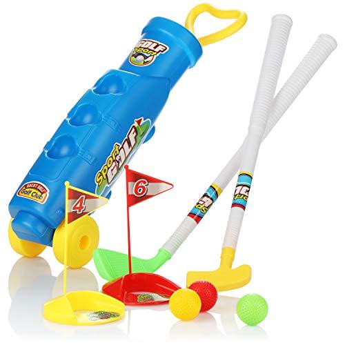 com-four® 10-teiliges Golfset für Kinder, Spielzeugset mit Golfschlägern, Golfbällen, Löchern und Golftasche, für Drinnen, Draußen, Strand und Garten
