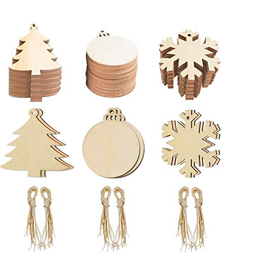 60-Pack Wooden Christmas Hanging Ornaments Unfinished, SINGARE Christmas Tree Snowflake Round Shaped Wood Slices w/ Holes for DIY Crafts Holiday Decorations