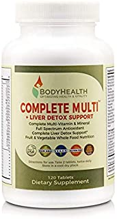 Bodyhealth Complete Multi + Liver Detox Support (120 Tablets), Full Spectrum Antioxidant Multivitamins with 16 Whole Foods (Wheatgrass, Spirulina, Etc) Nutrition, Vitamin & Minerals Supplements