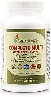 Bodyhealth کامل چند + کبد پشتیبانی از Detox (120 قرص)، طیف کامل آنتی اکسیدان مولتی ویتامین با 16 تمام مواد غذایی (Wheatgrass، Spirulina، و غیره) تغذیه، مکمل های ویتامین و مواد معدنی