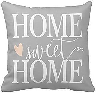 babyssj Home Sweet Home y rosa corazón gris funda de almohada de 1818