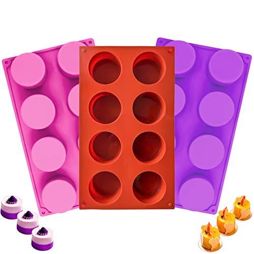 3 Piezas Molde Redondo Silicona, Molde de Silicona Cilíndrico de 8 Cavidades, Revestimiento Antiadherente para Chocolate, Dulces, Cupcakes (Multi)