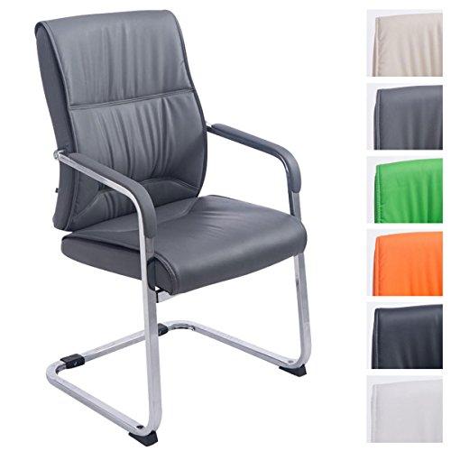 XXL-Freischwinger Anubis mit Kunstlederbezug und gepolsterter Sitzfläche I Pflegeleichter Konferenzstuhl mit Armlehne, Farbe:grau