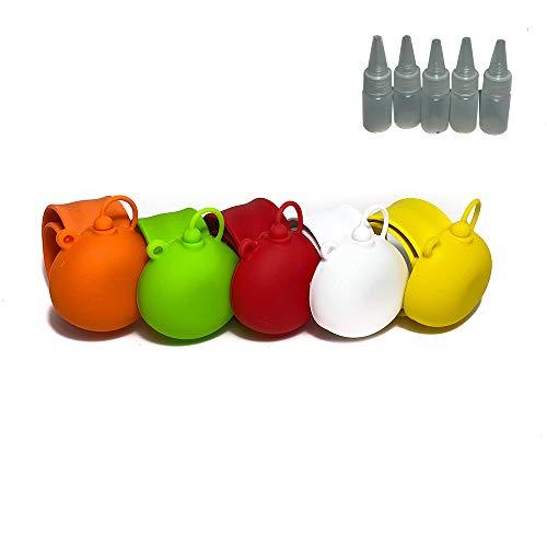 Pack de 5 Uds Cierre Fácil Pulsera Dispensadora de Gel Hidroalcohólico Desinfectante de Manos, Carga para 20 usos para Niños y Adultos Acompañado de 5 Botellas