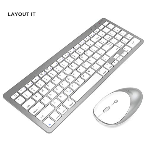 INPHIC Set Tastiera e Mouse Bluetooth Wireless Ultra-Sottile, Tastiera per iPad Layout IT, Compatibile con iPad Air/PRO/Mini Altri dispositivi abilitati Bluetooth