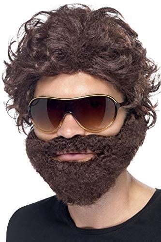 Smiffys Kit d'enterrement de vie de garçon, marron, avec perruque, barbe et lunettes de