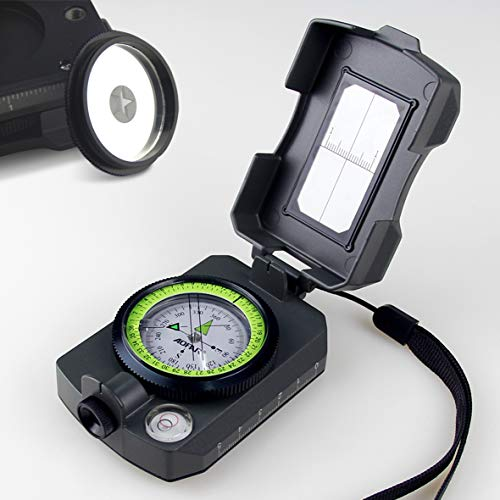 AOFAR Lensatic Sighting MilitaryCompass AF-4090, Aluminum Alloy Materialis Lighter, Functionalwith Signal Mirror Whistle...