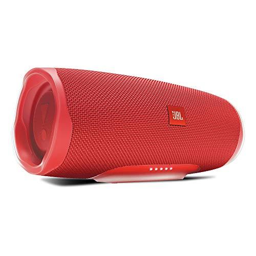 JBL Charge 4 Bluetooth-Lautsprecher - Wasserfeste, portable Boombox mit integrierter Powerbank - Mit nur einer Akku-Ladung bis zu 20 Stunden kabellos Musik streamen Rot