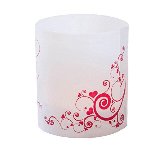 Tischkarte Windlicht Herzranken Rot mit Druck: Platzkärtchen, Tischkärtchen, Tischdeko für Hochzeit, Geburtstag, Taufe, Kommunion