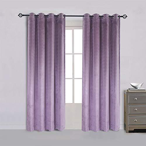Super Soft Luxury Velvet Set of 2 Lavender Flannel Blackout Curtains Panel Drapes Grommet 52Wx96L inch