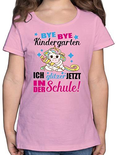 Einschulung und Schulanfang - Ich Glitzer jetzt in der Schule Einhorn mit Schultüte - Fuchsia - 128 (7/8 Jahre) - Rosa - bastelset für 6 Jahre - F131K - Mädchen Kinder T-Shirt
