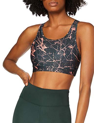 Amazon-Marke: AURIQUE Damen Sport-BH Low Impact Strappy, Grau (indische Tinte, Marmordruck), S, Label:S