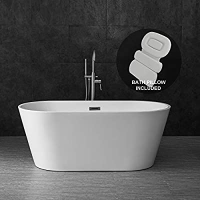 "WOODBRIDGE Acrylic Freestanding Contemporary Soaking Tub with Brushed Nickel Overflow and Drain, Including Bathtub Spa, 59"" B-0014 With Pillow"