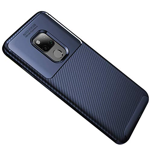 Generisch Huawei Mate 20 Hülle, Huawei Mate 20 Handyhülle, Ultra Dünn TPU Silikon Anti-Fingerabdruck Anti-Scratch Case Carbon Handyhülle für Huawei Mate 20 (Huawei Mate 20, Blau)