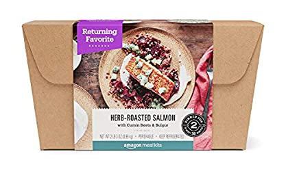 Amazon Meal Kits, Herb-Roasted Salmon with Cumin Beets & Bulgur, Serves 2