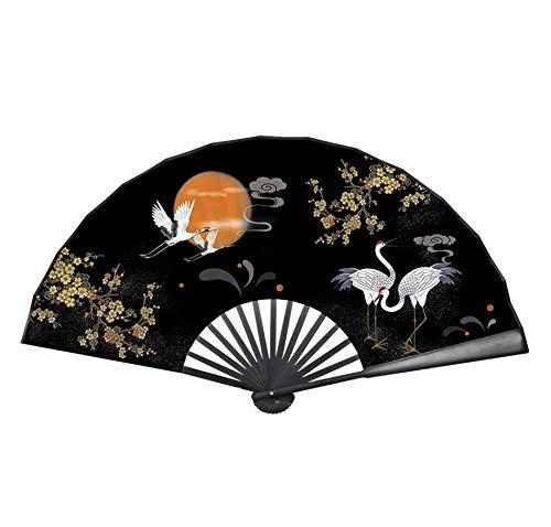 Ventilador Plegable para Hombres, Ventilador de bambú Plegable Vintage Chino portátil, Ventilador de Mano de Seda para Mujer