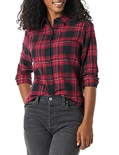 Amazon Essentials Long-Sleeve Classic-Fit Lightweight Plaid Flannel Shirt Athletic-Shirts, Negro/Rosa Chelsea Tartan, 46-48