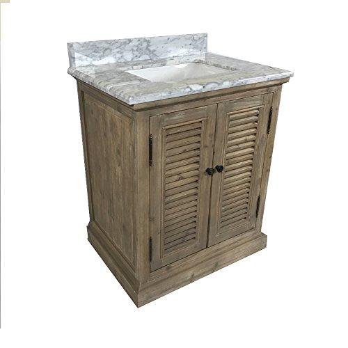 InFurniture Rustic Style Marble Top with SQ Sink 31-inch Single Sink Bathroom Vanity