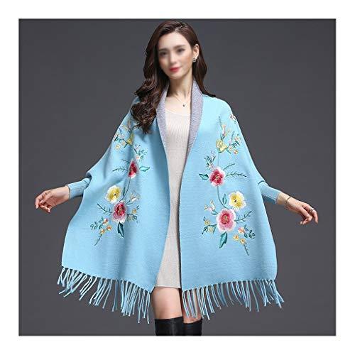Moda Bufanda Chal Bufanda de las mujeres con estilo de hacer punto caliente del abrigo del mantón bordado cabeza hacia cálida lana de cachemira bufandas de la bufanda del color sólido con mangas Bufan